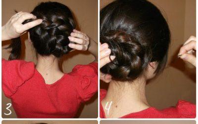 Trenza de lado que se recoge en moño, peinado sencillo para pelo largo