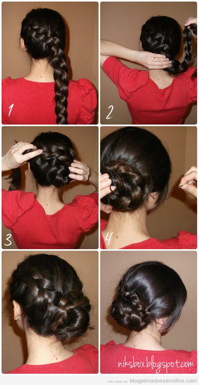 Explicación paso a paso, peinado sencillo pelo largo con trenza y moño