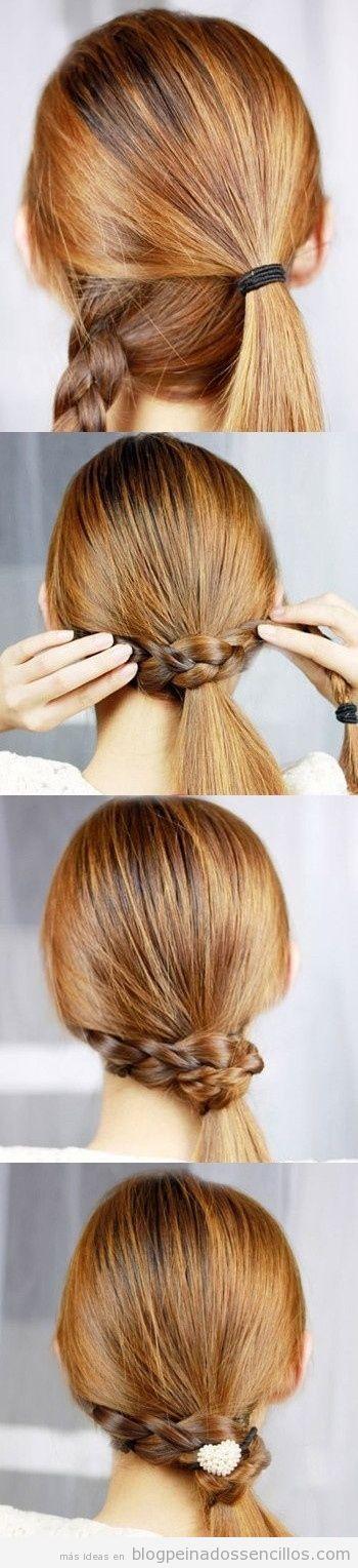 Aprender a hacer peinado sencillo para pelo largo, coleta envuelta en trenza