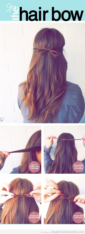 Peinado sencillo, semirecogido con forma de lazo, paso a paso