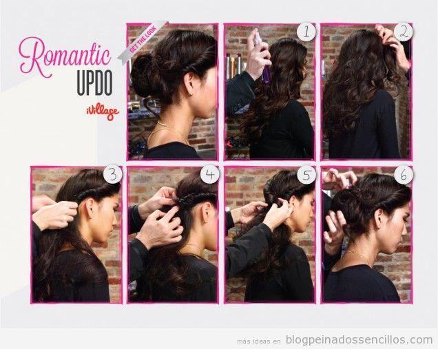 Peinado sencillo para pelo largo y rizado estilo romántico, tutorial