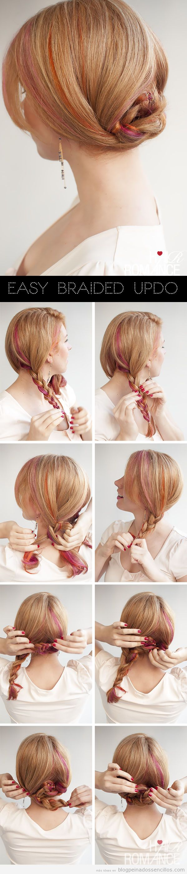 Peinado rápido y sencillo, moño bajo hecho con dos trenzas, tutorial paso a paso