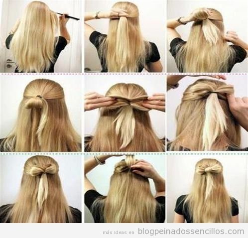 tutorial paso a paso peinado sencillo con forma de lazo este es fcil y rpido