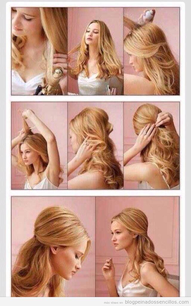 tutorial paso a paso peinado sencillo con pelo ondulado