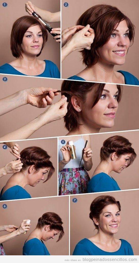 Tutorial peinado sencillo para pelo corto, de aire romántico