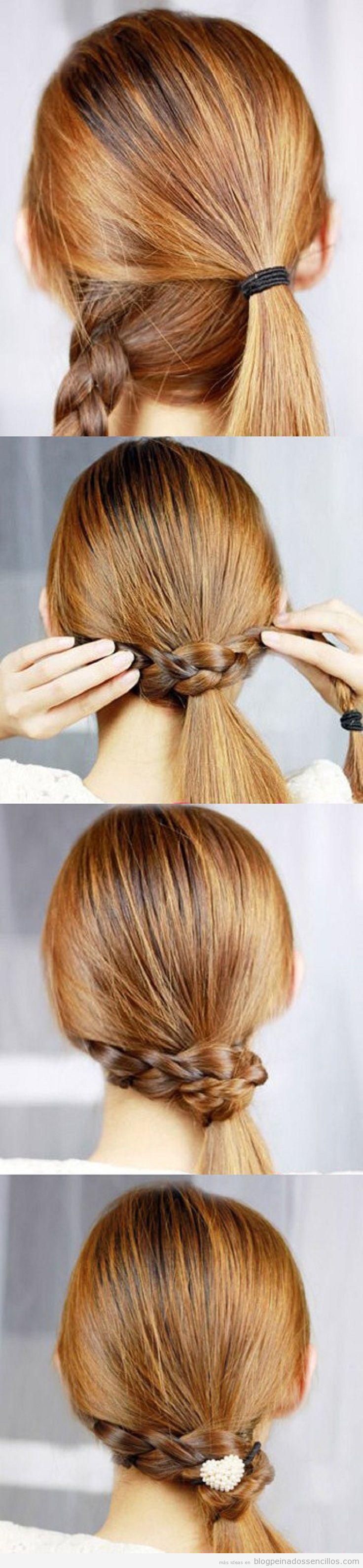 Tutorial paso a paso, peinado sencillo con coleta y trenza alrededor