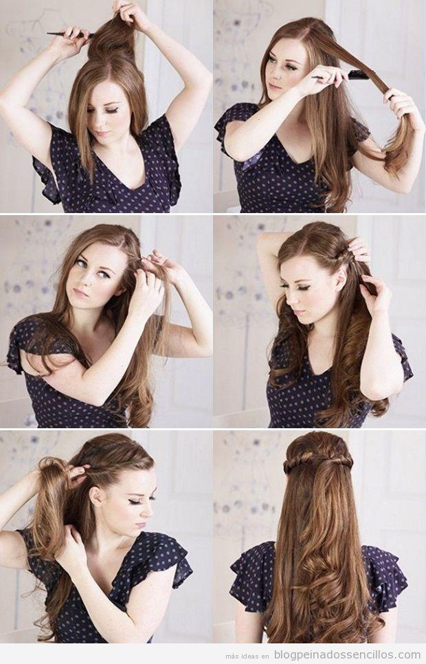 Peinado semirrecogido sencillo paso a paso peinados - Como hacer peinados faciles y rapidos paso a paso ...