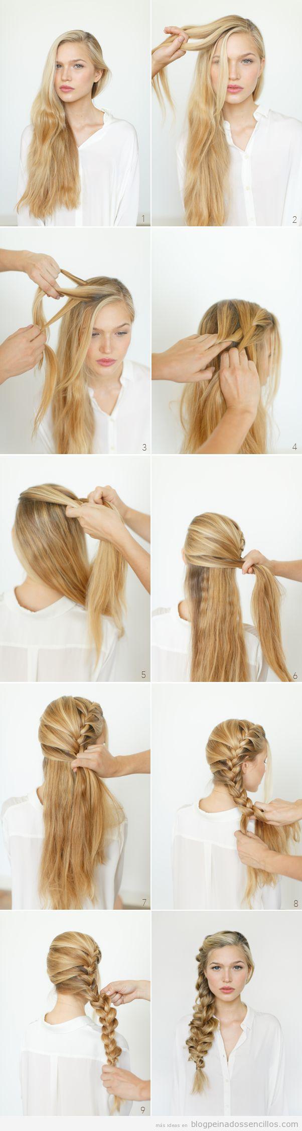 Trenza deshecha a un lado para pelo muy largo paso a paso - Tutorial de peinados ...