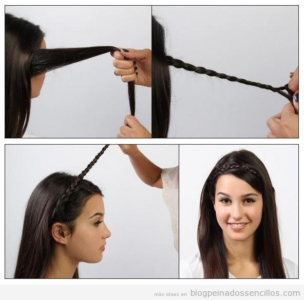Peinado sencillo, tutorial para hacer una diadema con una trenza