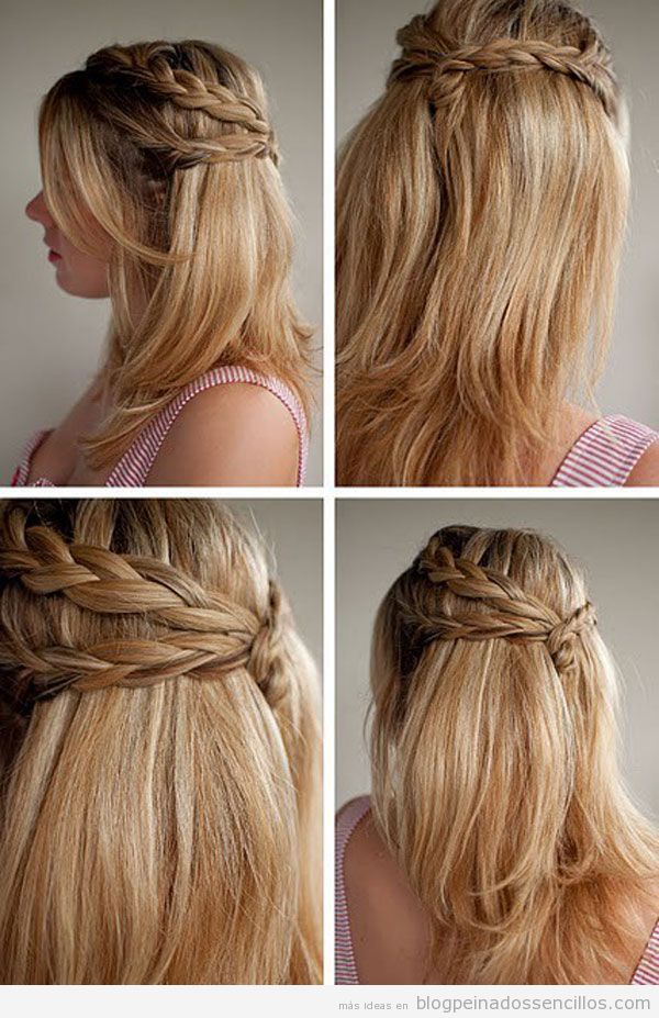 peinado sencillo con trenzas para pelo largo