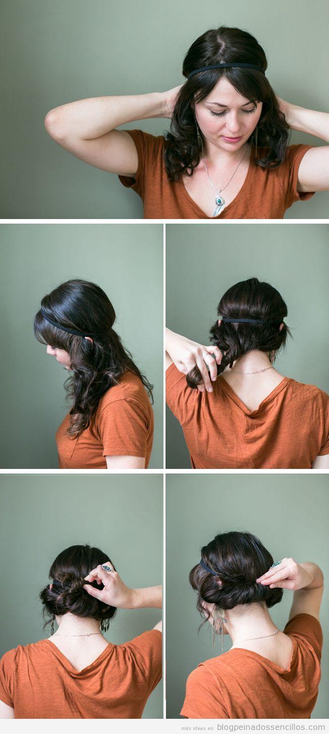 Tutorial paso a paso, peinado romñantico fácil y rápido con diadema