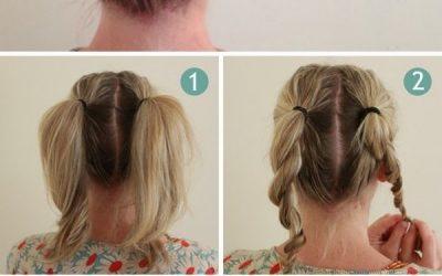Cómo hacer un recogido con dos coletas «twisted», peinado sencillo a pasos