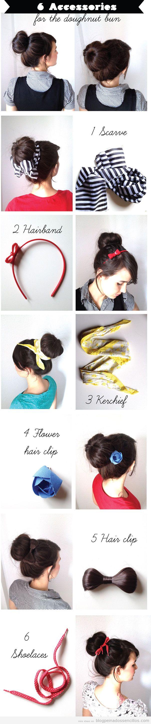 Ideas de accesorios de pelo para llevar con un moño donut