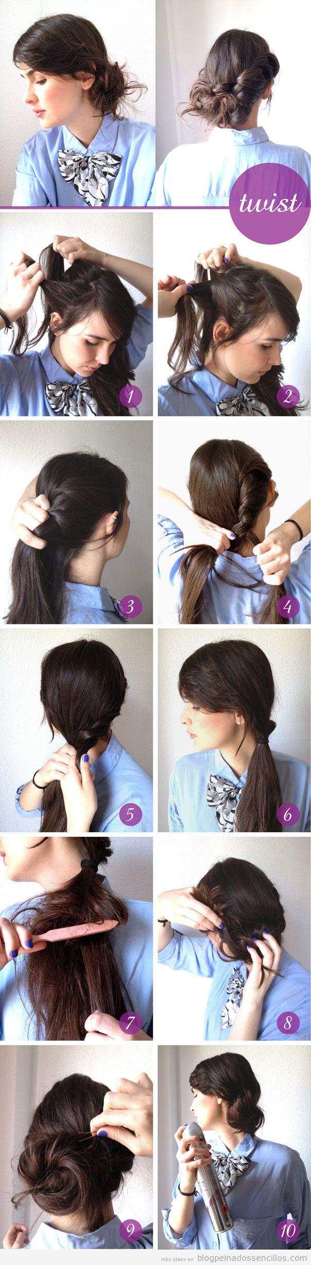 Tutorial para aprender a hacer un peinado recogido twist en el lateral