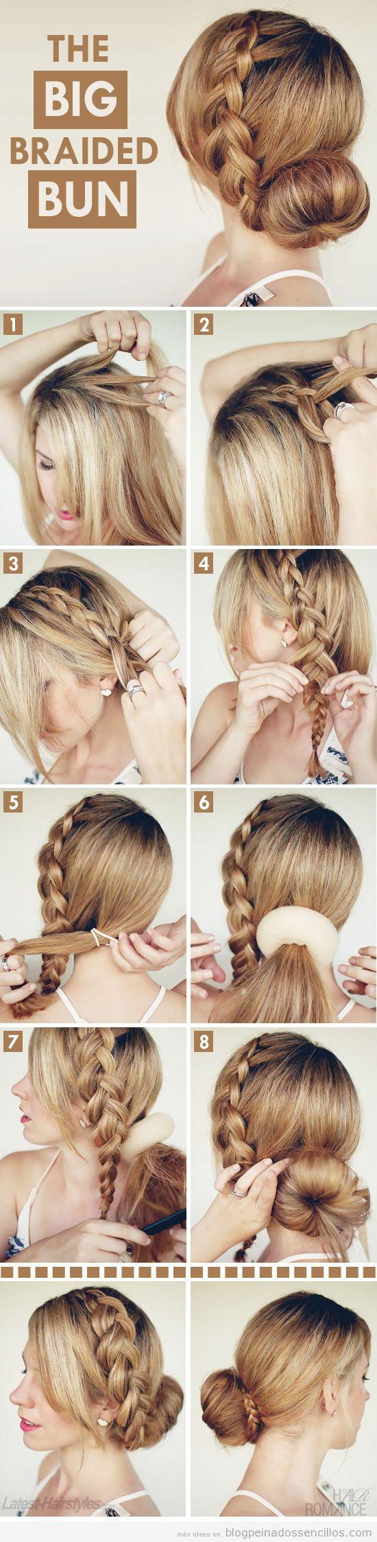 Tutorial aprender peinado sencillo con trenza y moño