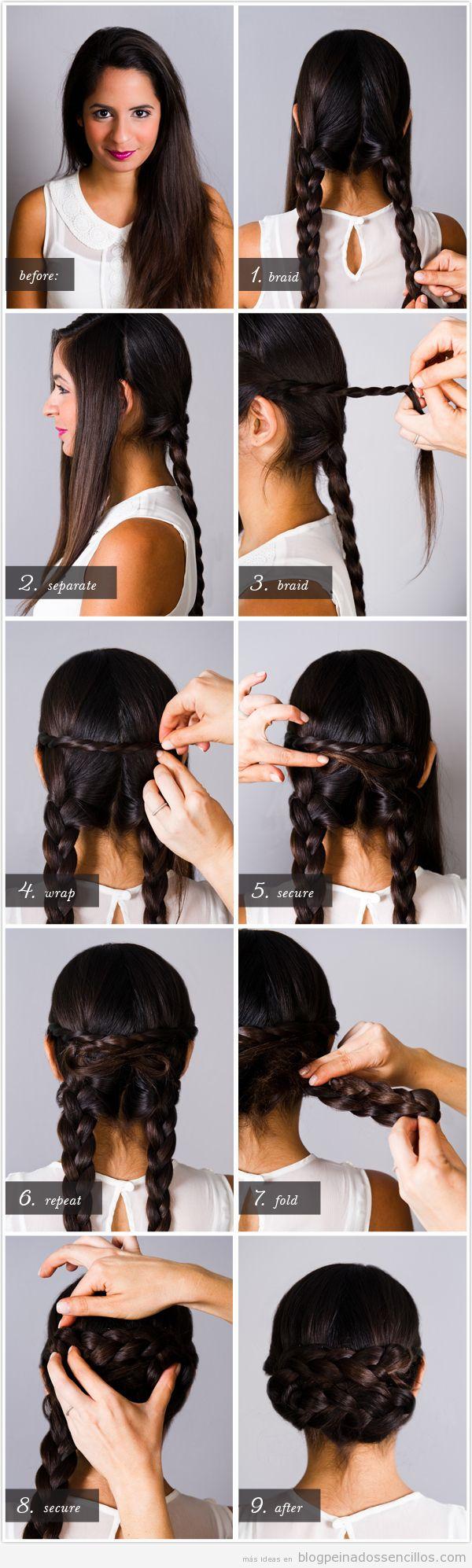 Tutorial peinado recogido fácil con dos trenzas