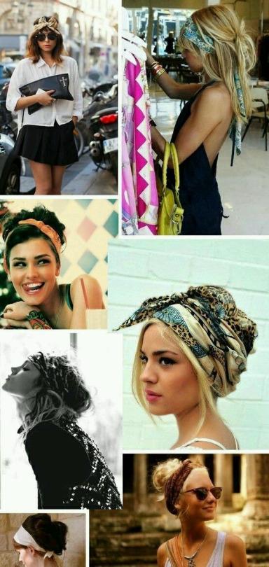 Peinados con diademas y pañuelos, estilo boho para verano