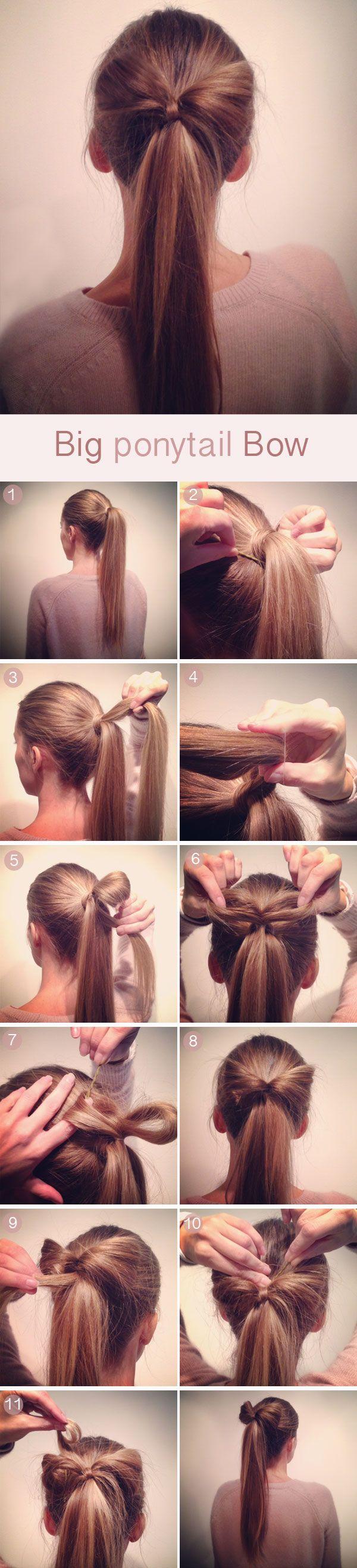 Peinado sencillo, tutorial de coleta con gran lazo