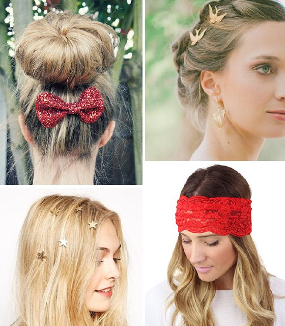 Peinados sencillos con diademas, pasadores y lazos para Navidad 3
