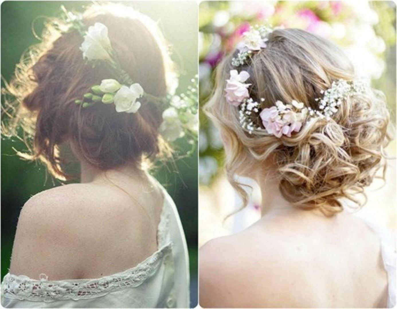 Peinados novia boda con corona o tocado de flores 5