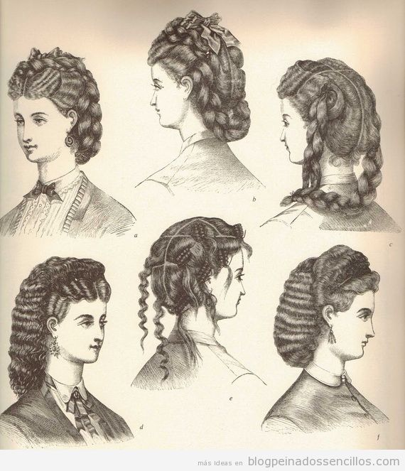 Dibujos Peinados mujer época victoriana y eduardiana