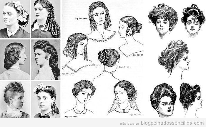 Dibujos Peinados mujer época victoriana y eduardiana 3