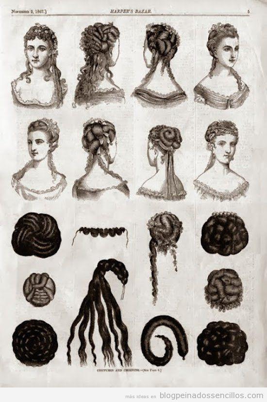 Dibujos Peinados mujer época victoriana y eduardiana 2