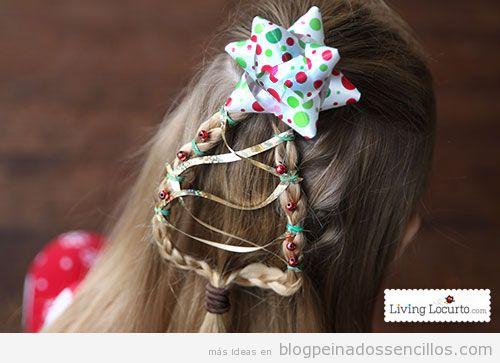 Peinados forma árbol de Navidad para niñas 2
