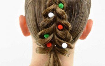 Peinados con forma de árbol de Navidad para niñas, muy bonitos y divertidos!
