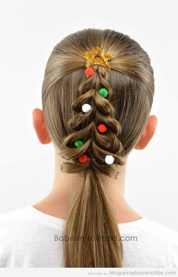 Peinados forma árbol de Navidad para niñas