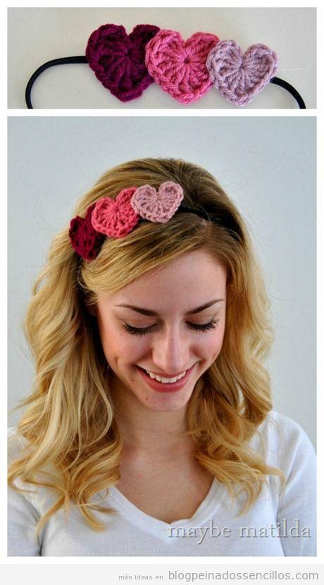 Diademas con corazones de crochet para peinado San Valentín