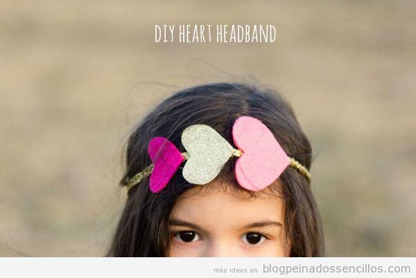 Diademas con corazones de fieltro para peinado San Valentín 3