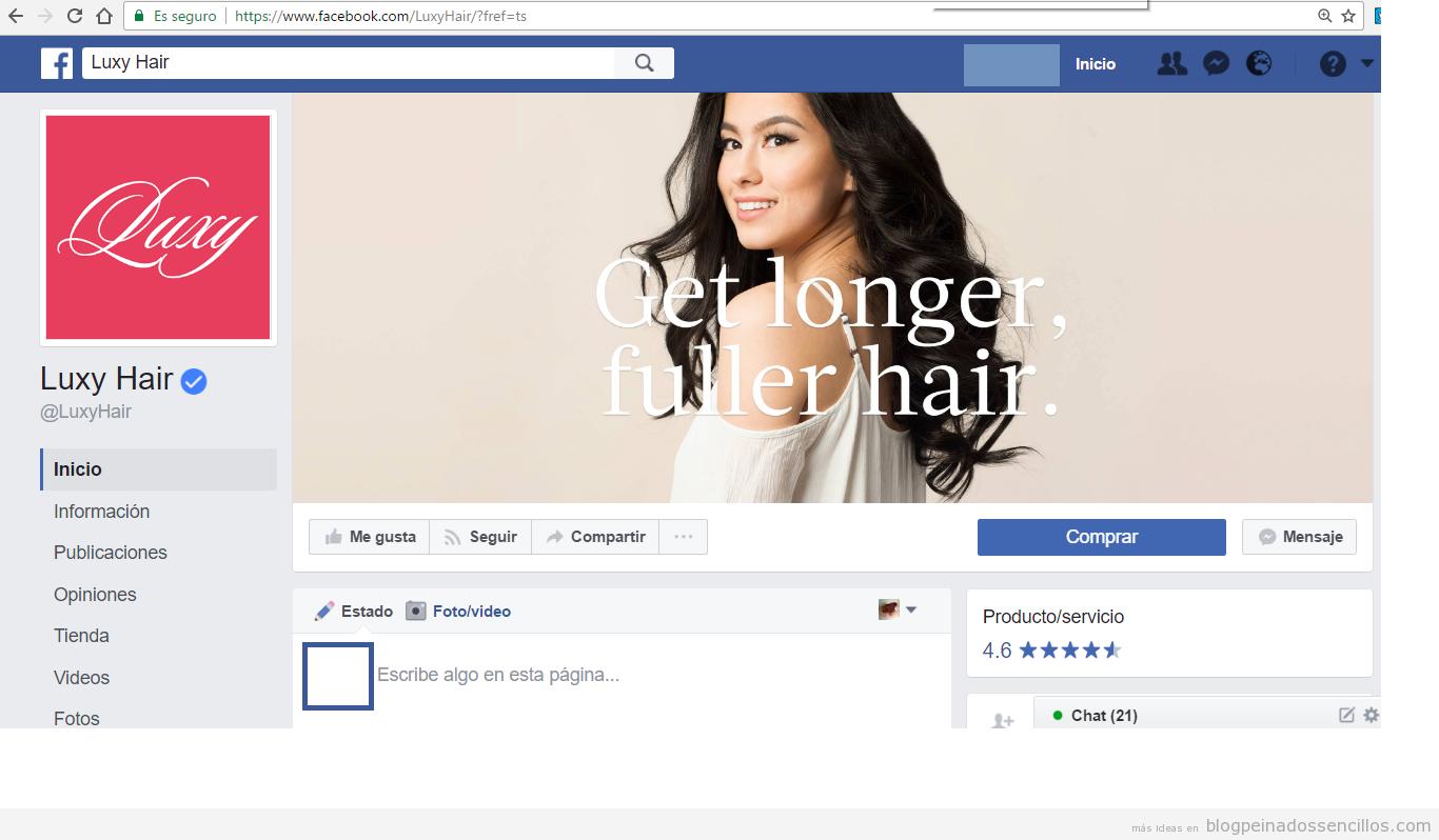 Página facebook luxy hair