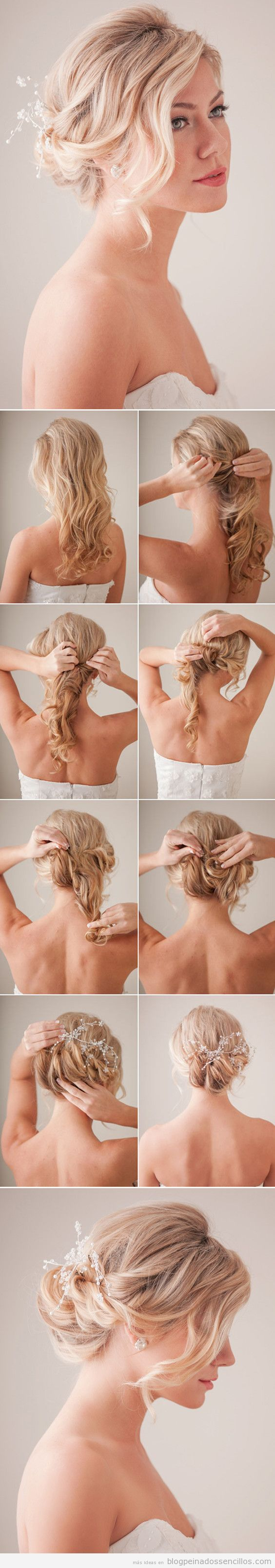 Peinados sencillos para novias a invitadas de boda, recogido boho 3