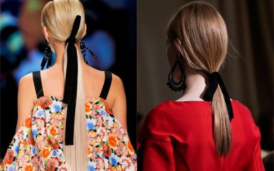 Coletas con lazo negro de terciopelo: tendencia de peinados para otoño 2017