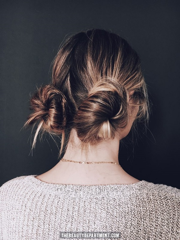 Tutorial peinado sencillo dos moños 2